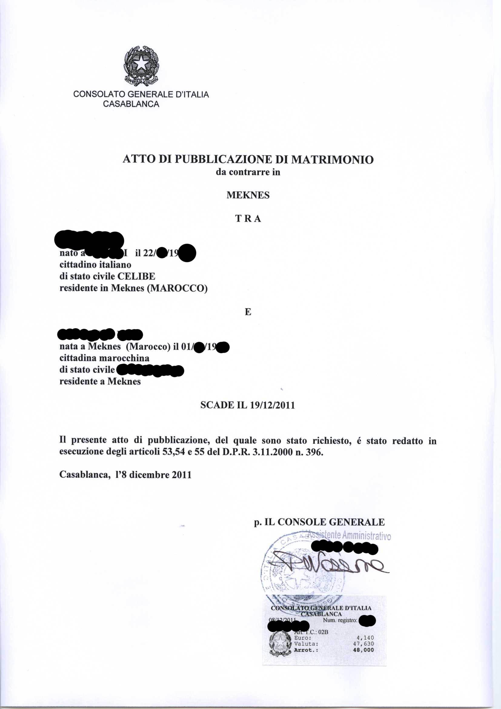 Matrimonio In Italia Con Cittadino Americano : Il matrimonio misto italia marocco procedura completa